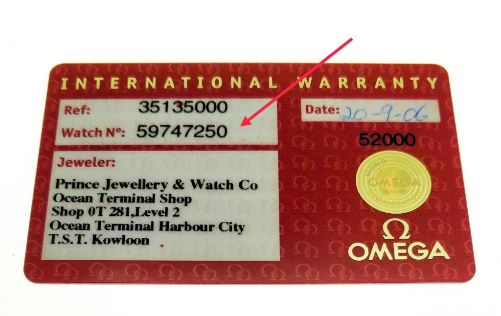 Omega Speedmaster certificate warranty card