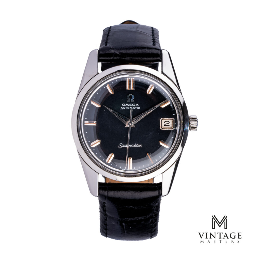 vintage omega watch14701-1 SC black dial seamaster front