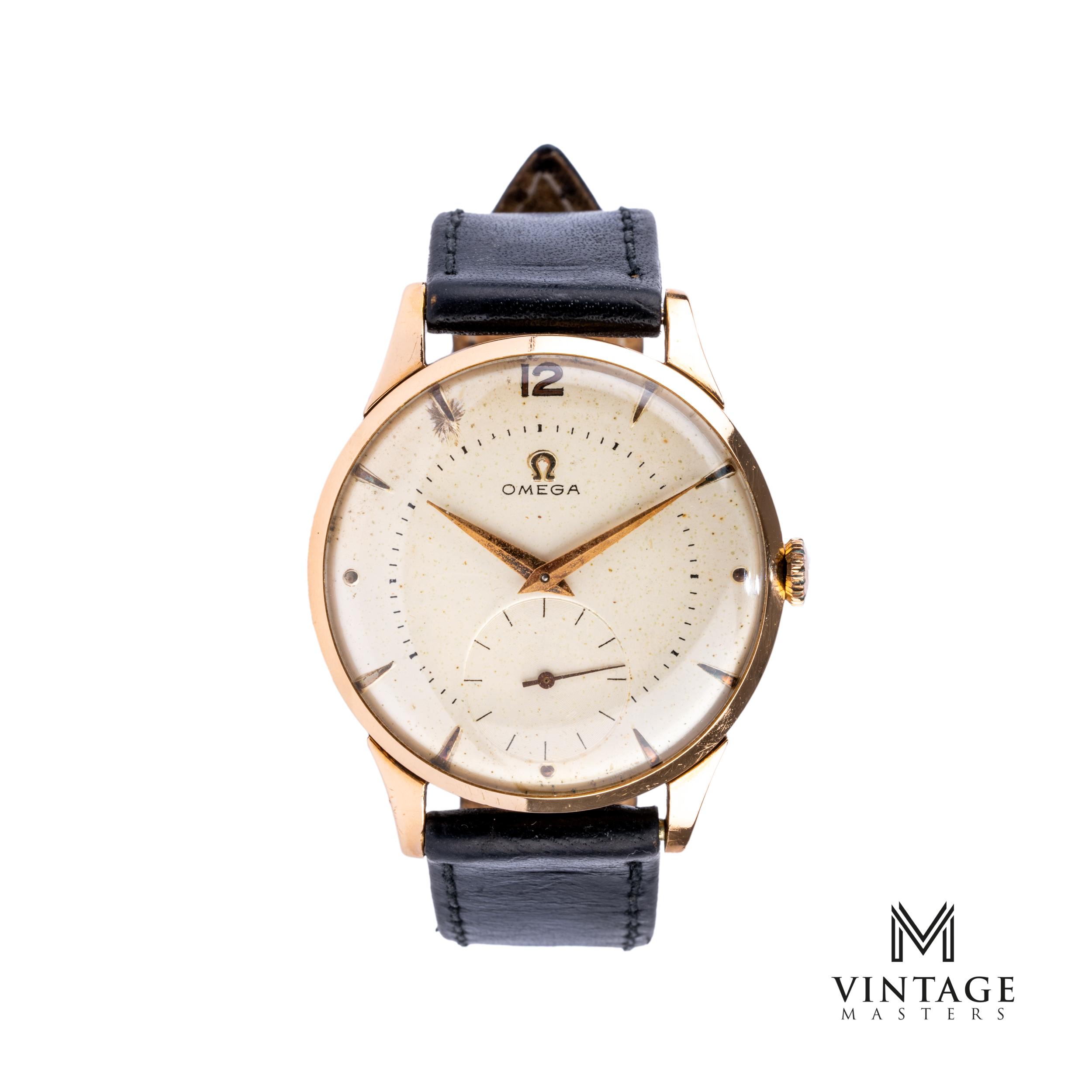 vintage omega dress watch 18k rose gold jumbo front