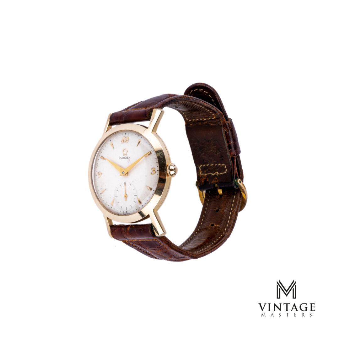 Omega Rare Breguet Numerals 14K Gold US Market Fancy Lugs Watch side