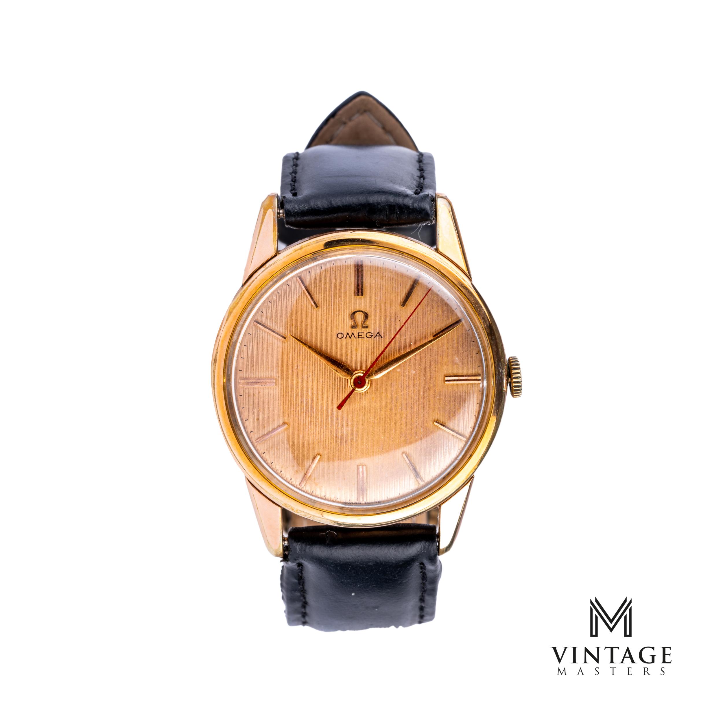 vintage Omega 14392-1 SC Rose Gold Bezel Striped Dial 1959 watch front