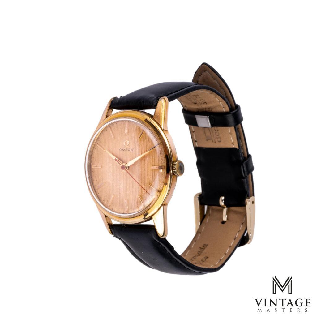 vintage Omega 14392-1 SC Rose Gold Bezel Striped Dial 1959 watch side