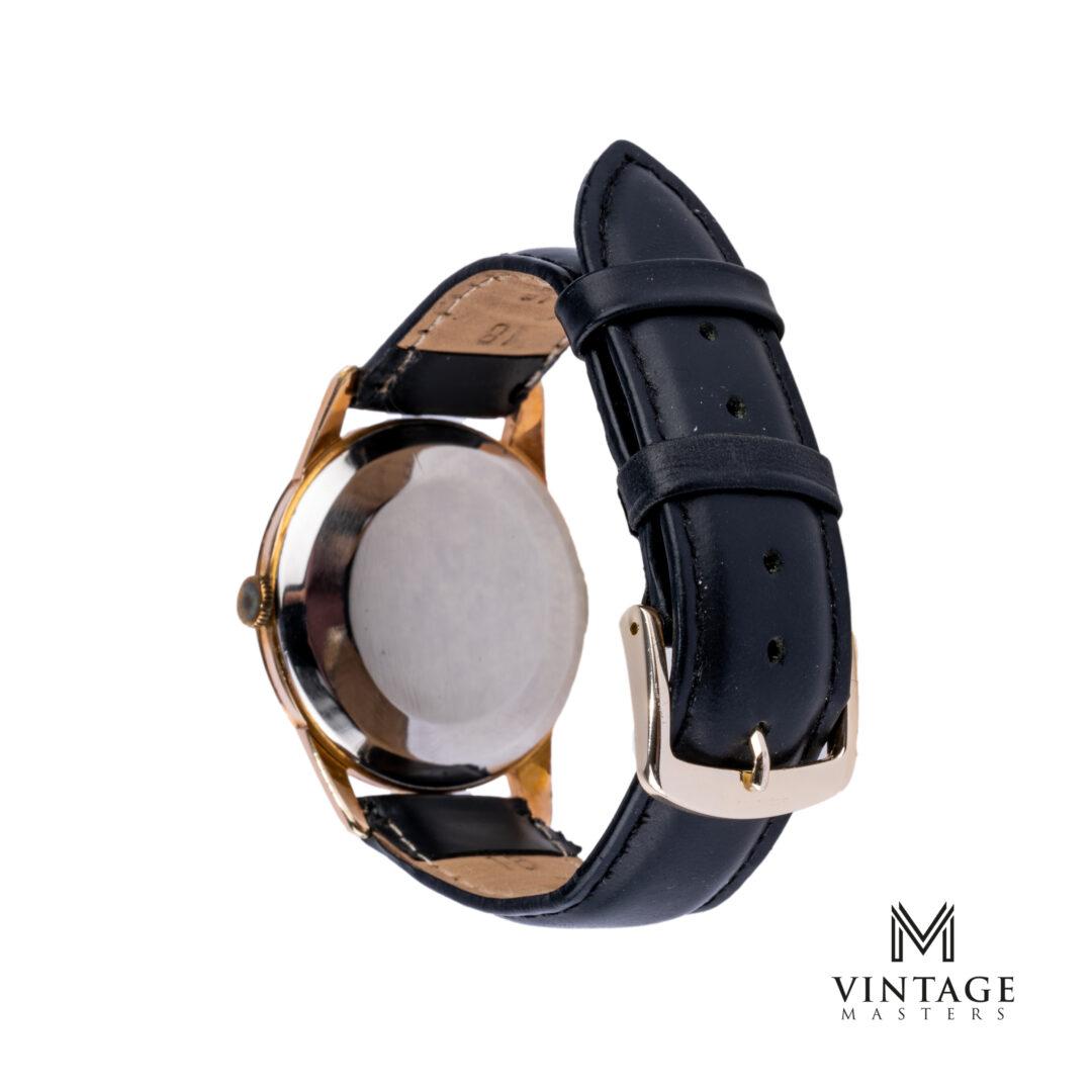 vintage Omega 14392-1 SC Rose Gold Bezel Striped Dial 1959 watch caseback
