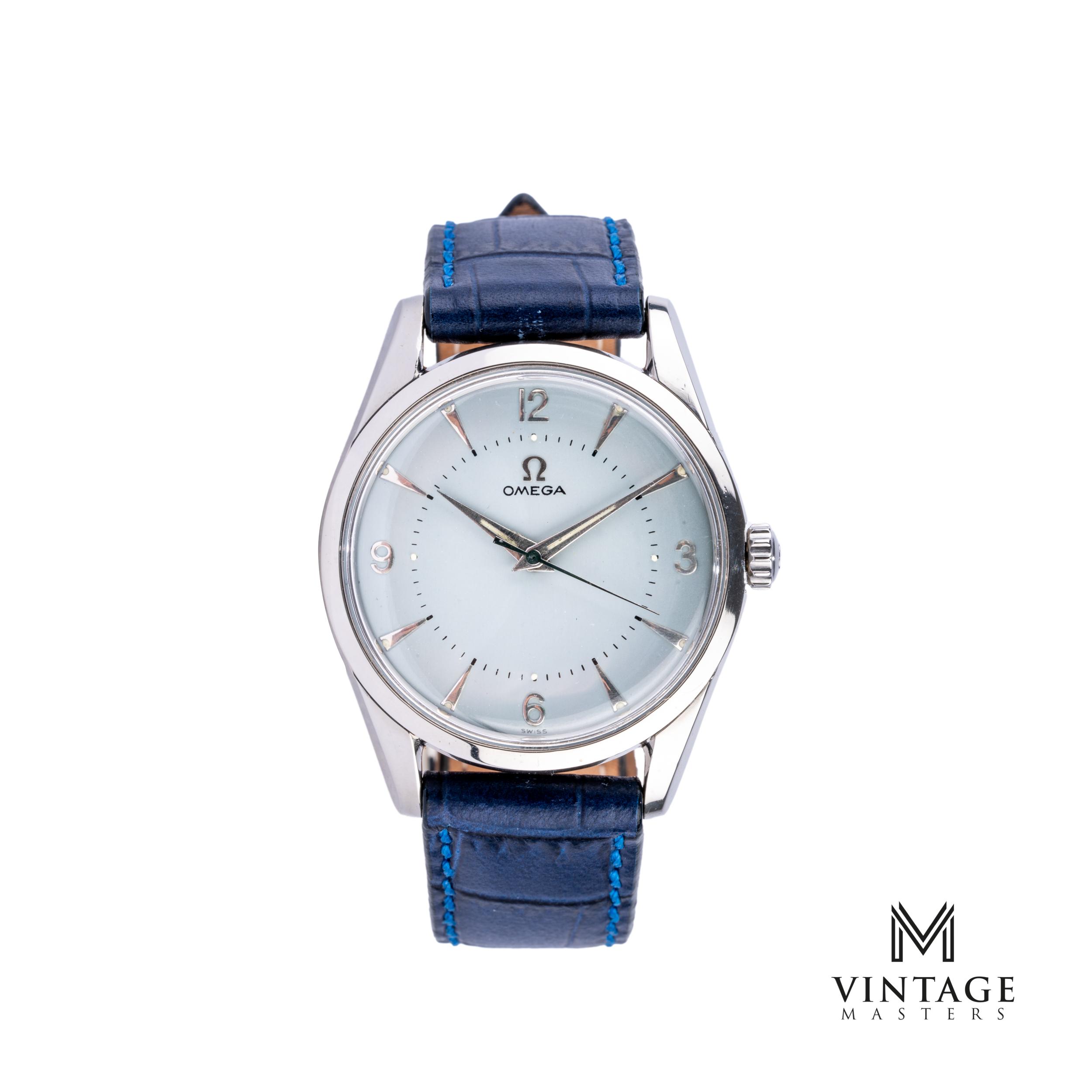 vintage Omega Seamaster watch. Blue Dial 2938-2 SC 1956 front