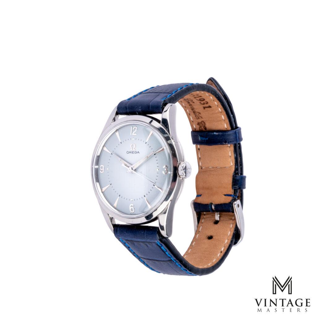 vintage Omega Seamaster watch. Blue Dial 2938-2 SC 1956 side