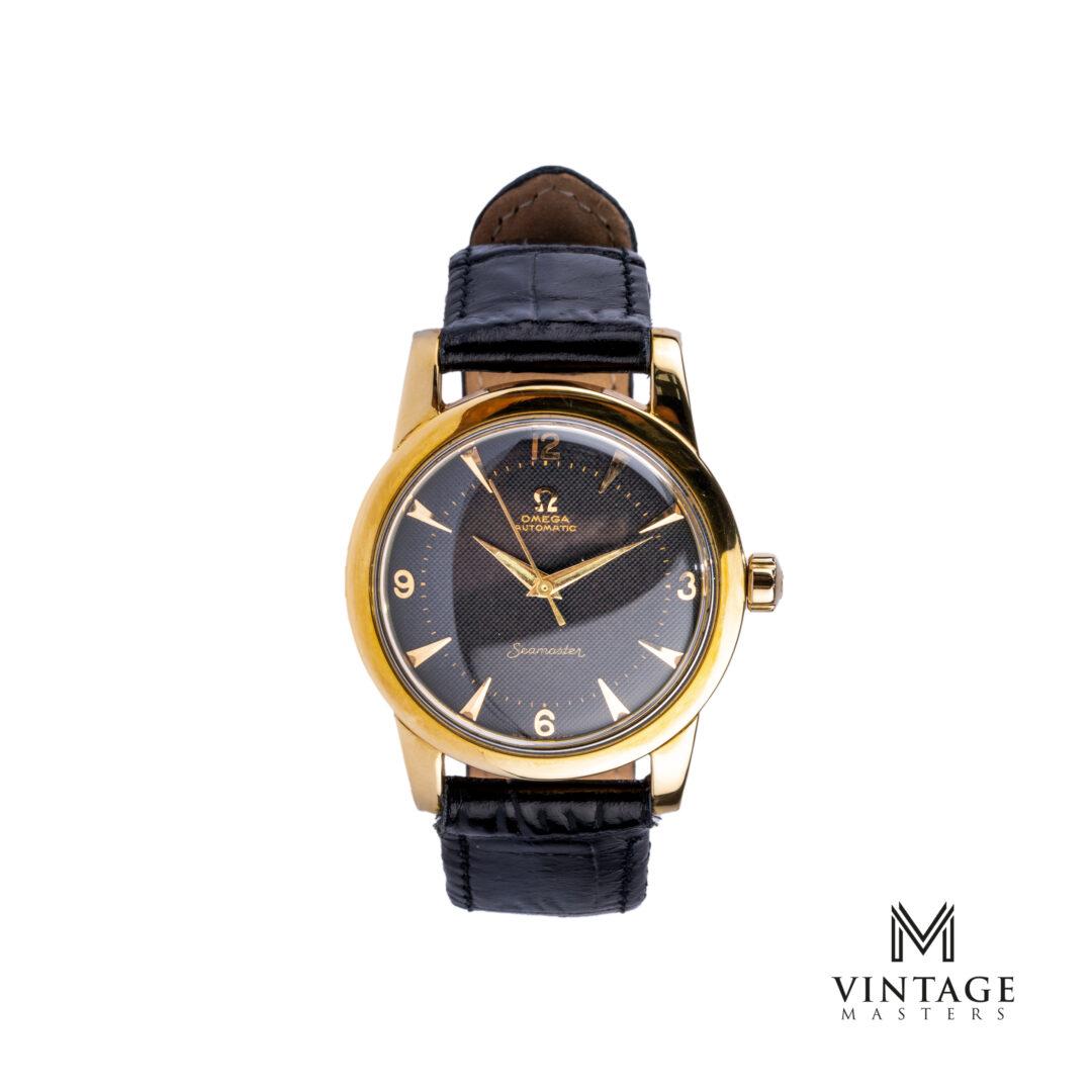 vintage Omega Seamaster watch. Honeycomb Black dial Gold/Steel ref: 2577 – 17 SC front