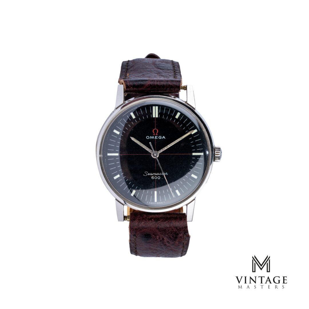 vintage Omega seamaster crosshair black technical dial 135011 front