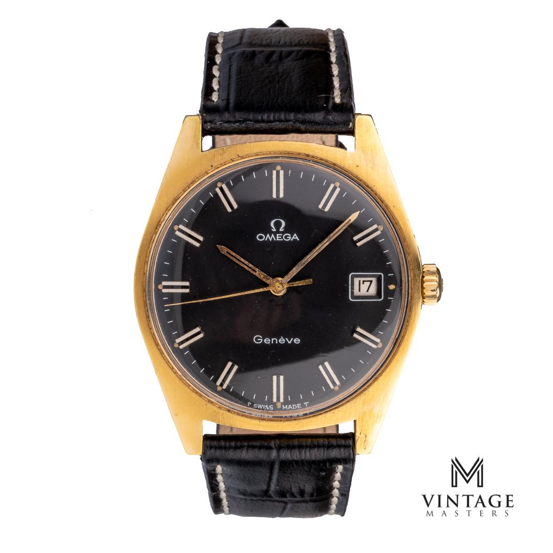 vintage Omega Geneve black dial gold plated front