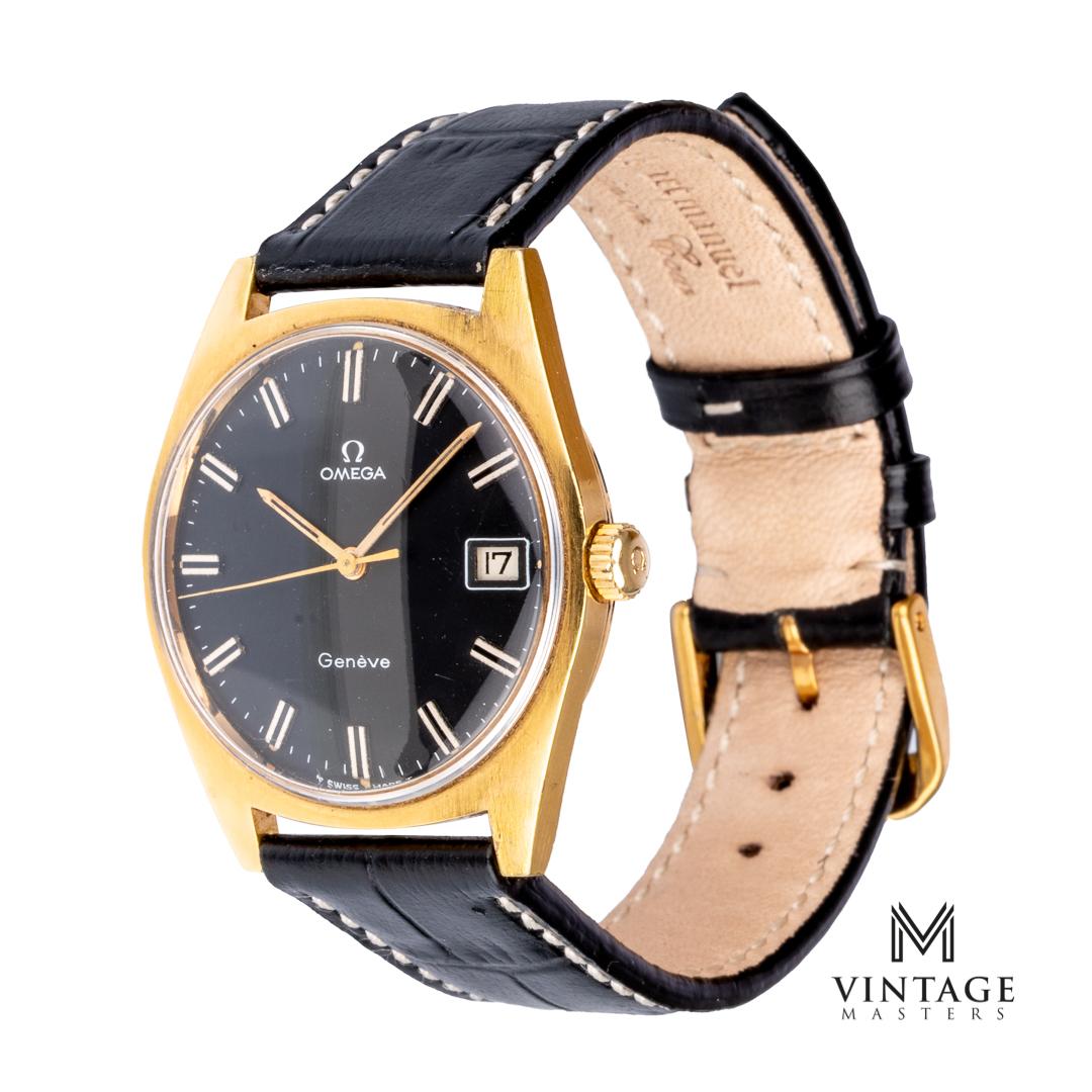 vintage Omega Geneve black dial gold plated side