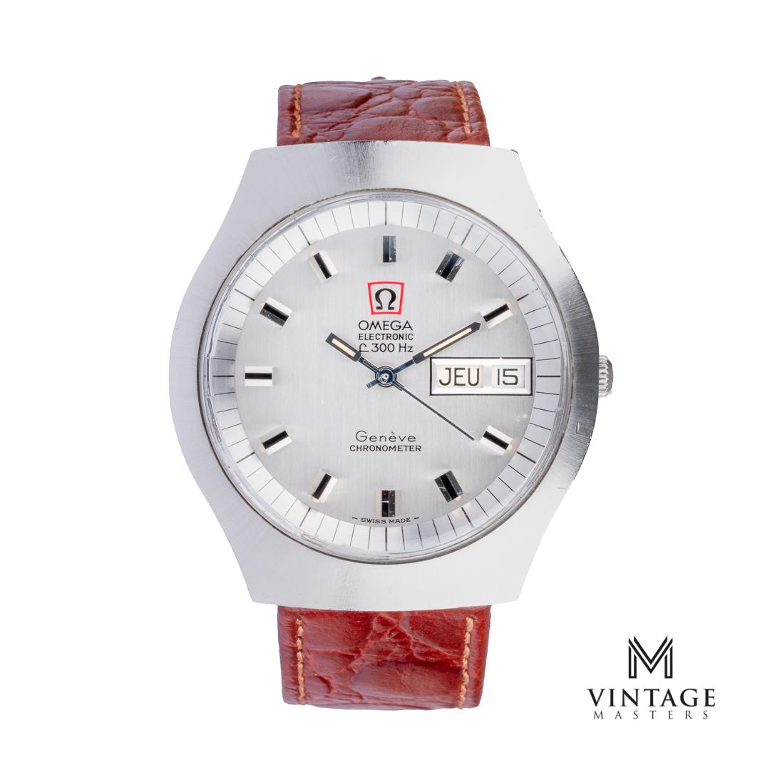 Vintage Omega 198020 Geneve f300hz chronometer watch front