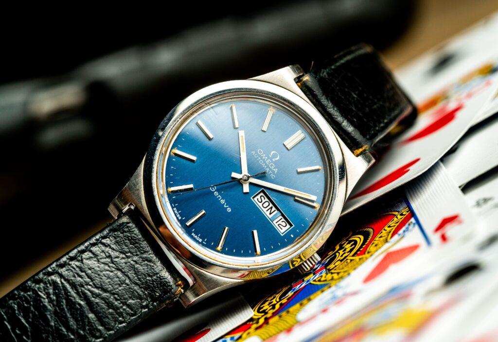 vintage omega geneve 1660169 blue dial watch