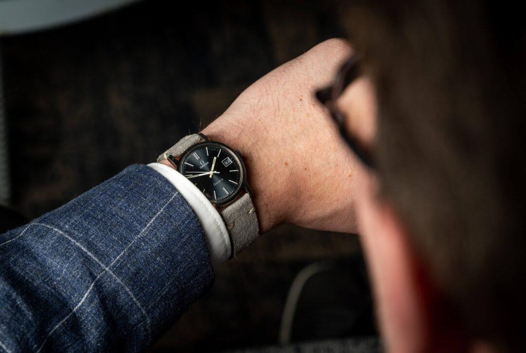 vintage Omega geneve 1360098 grey dial watch wristshot