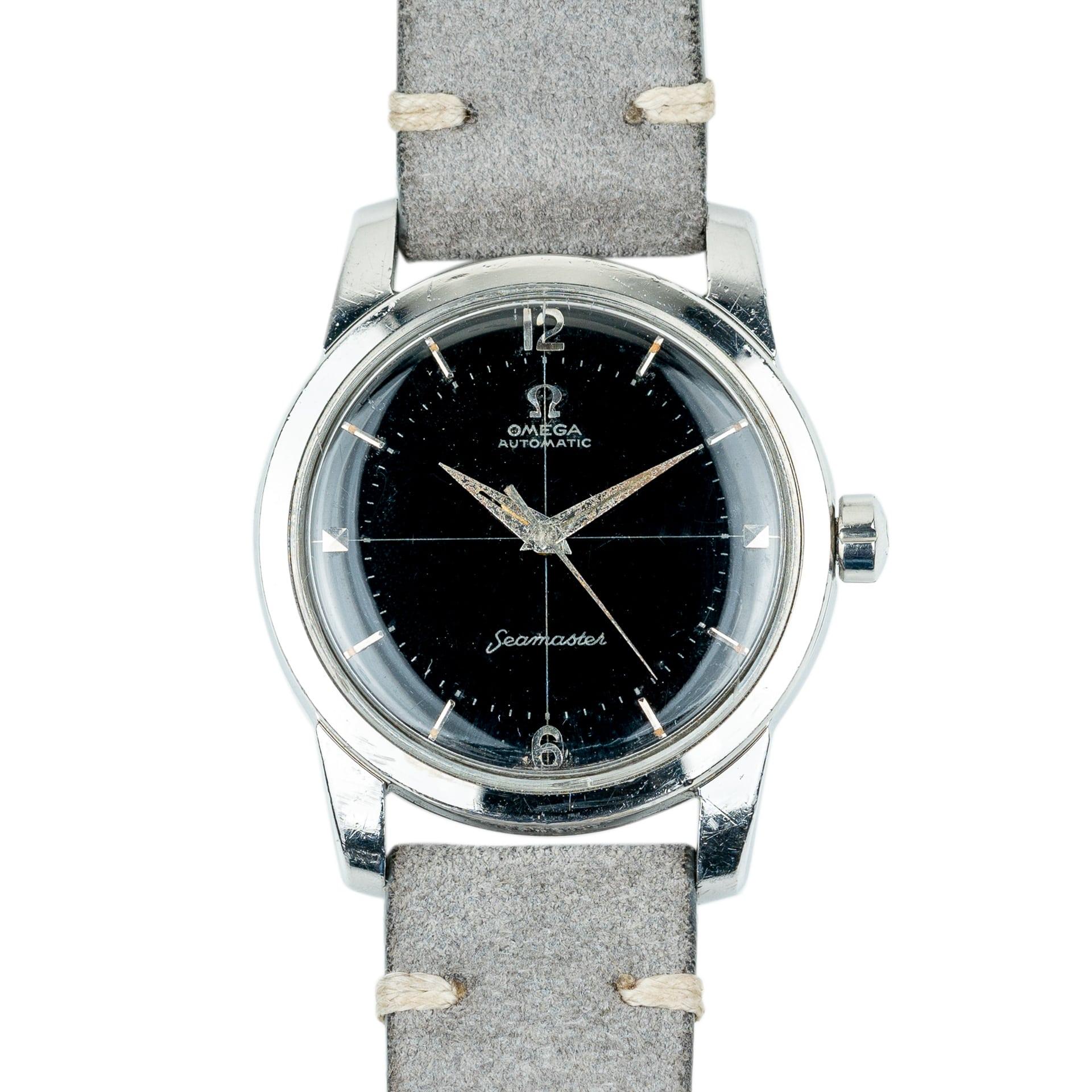 vintage omega seamaster automatic 2848 black crosshair dial 1956