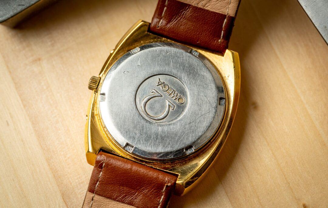 Omega Geneve Megaquartz 196.0030 Grey Dial Gold plated 1973 caseback