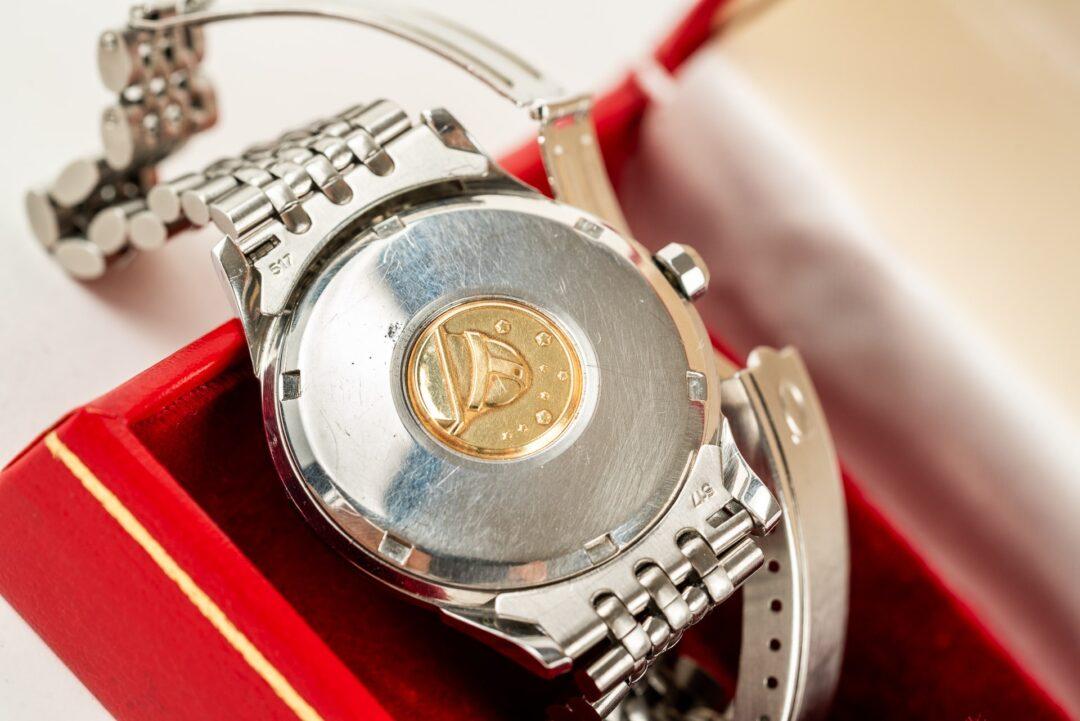 vintage omega constellation 168001 jumbo watch with original beads of rice bracelet caseback